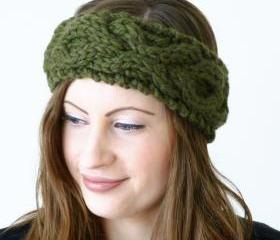 Cable xoxo headband handknitted - olive green