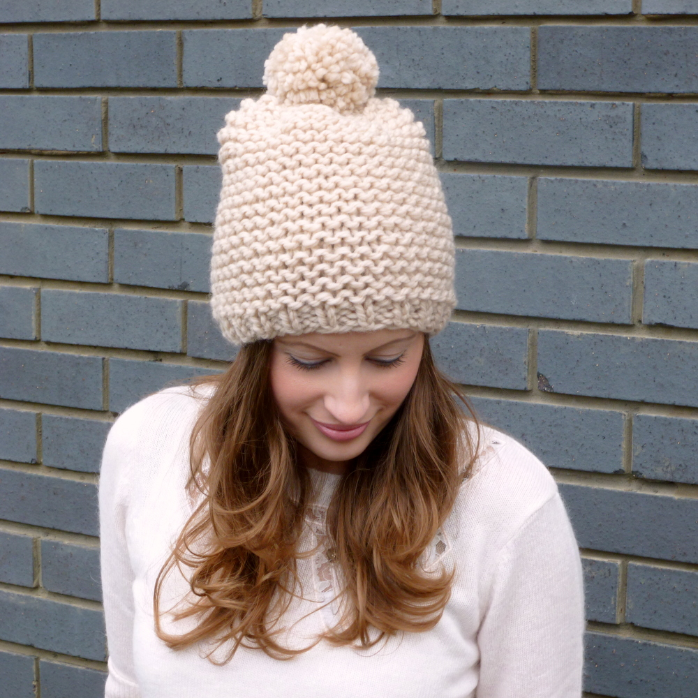 Chunky Pom Pom Beanie Hat - Hand Knitted - Merino Wool on Luulla